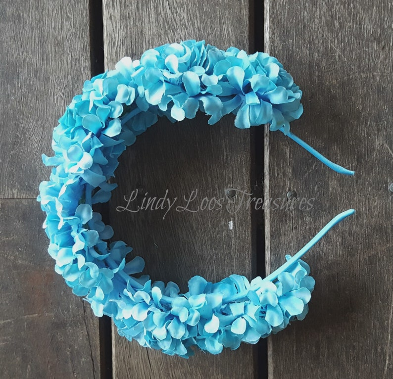 2be5b9d984 Blue Flower Bridal Wreath Headdress Blue Wedding Flower