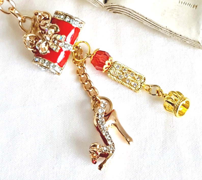 Purse Charm Red Purse and Shoe Charm Clip Keyring Dangle Planner Charm Red Purse Clip Thank you Gift Princess Bag Clip Red Bag Dangle