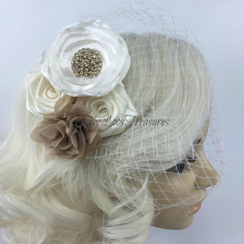 Bandeau birdcage veil Birdcage veil with flowers Flower Fascinator Small bridal veil Beige Flower Birdcage Face Veil Fascinator