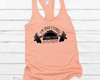 d4e323f020a Fitness Taco Into My Mouth   Workout   Workout Tank for Women   Plus size  Workout   Workout Shirts   Tank workout   Funny workout shirt