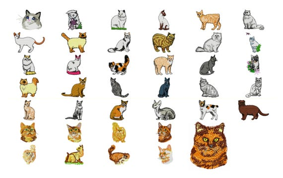 39 Cat Machine Embroidery Designs Cat Applique Applique Etsy
