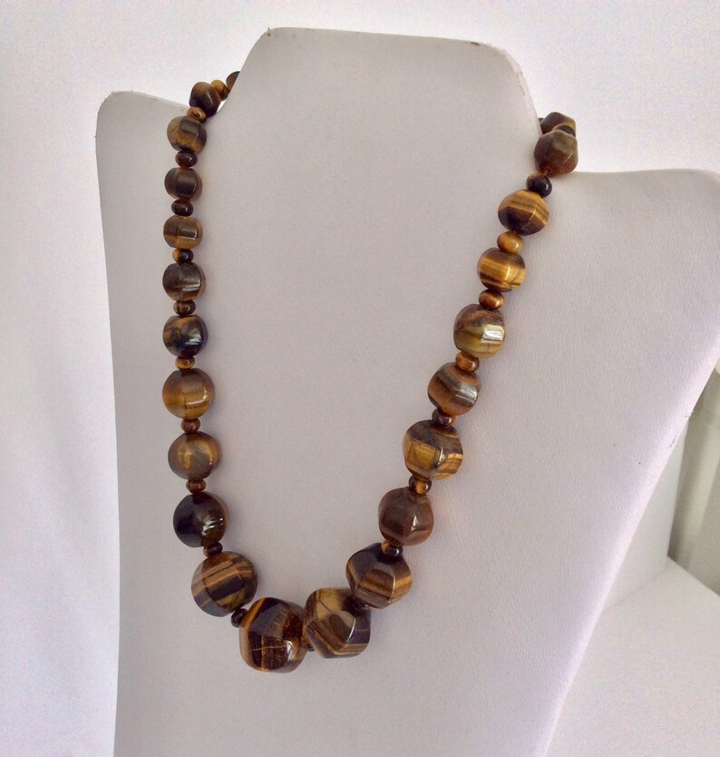 statement necklace boho style chunky brown necklace fashion jewellery Tortoishell Agate beaded choker adjustable length necklace