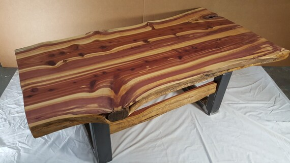 Rustic Red Cedar Slab Live Edge Living Room Coffee Table And