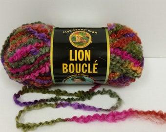 1 Skein Lion Brand Lion Boucle' Yarn, color Tutti Fruitti, Lot 31766, 2.5oz/70g, 57yds/52m