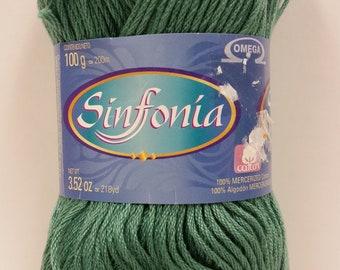 1 Skein Omega Sinfonia Sport Weight Cotton Yarn, Color Verde Pradera (Green Meadow), 3.25 oz/100g, 218 yds/200m, Dye Lot 4787