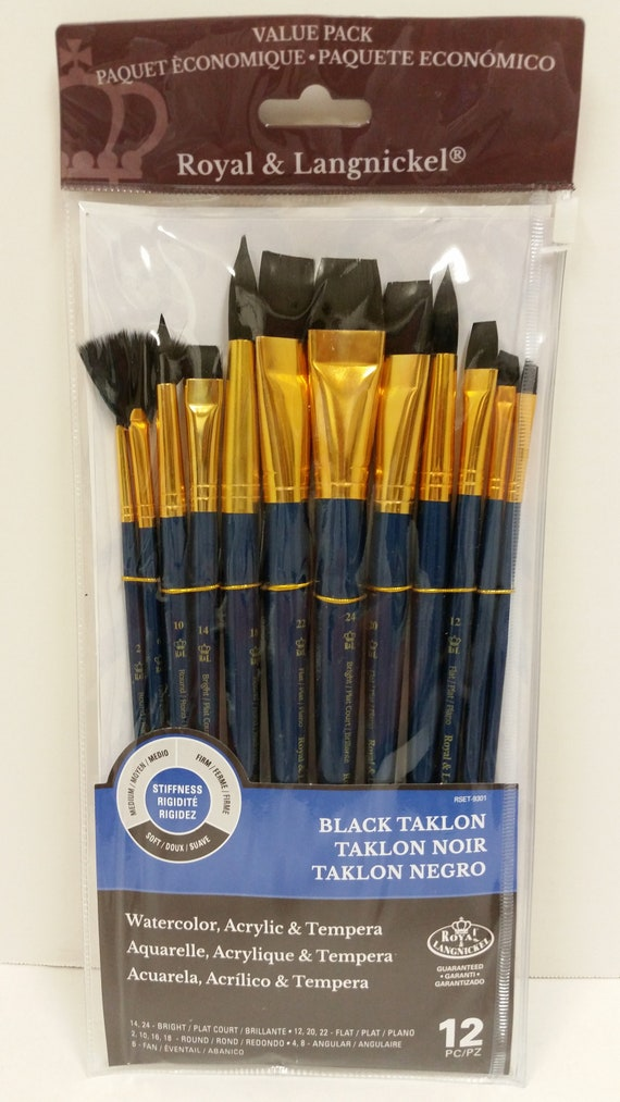 royal langnickel 12 piece black taklon paint brush set for etsy
