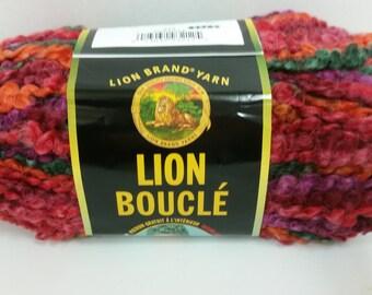 1 Skein Lion Brand Lion Boucle' Yarn, color Popsicle, Lot 31766, 2.5oz/70g, 57yds/52m