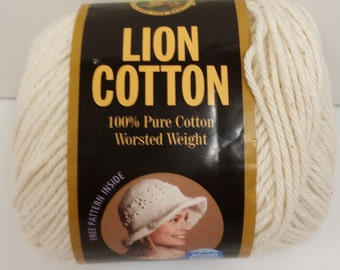 1 Skein Lion Brand Lion Cotton Worsted Weight Yarn in Color Natural, Lot #7824, 5oz/142g, 236yds/215m