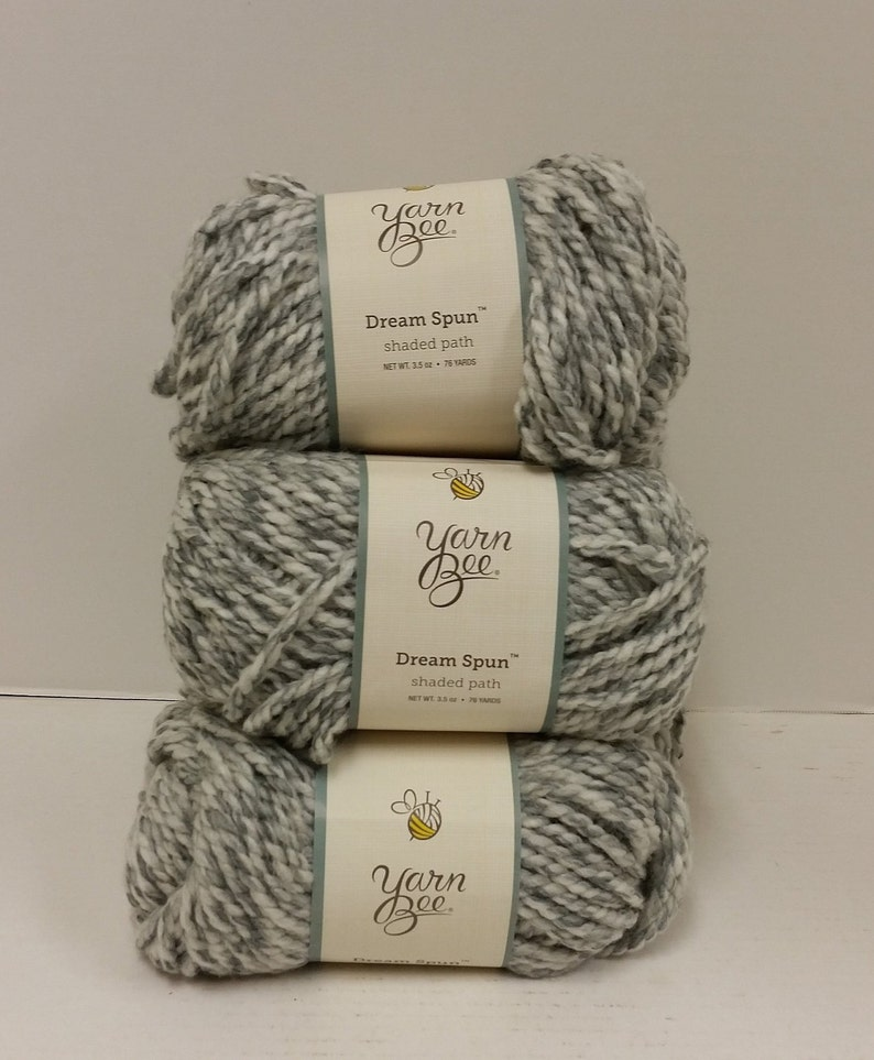 4 Skeins Available 1 Skein 76yds70m Dye Lot 205668 and No Lot Yarn Bee Dream Spun Yarn Bulky 5 Color Shaded Path Gray 3.5oz100g