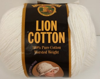 1 Skein Lion Brand Lion Cotton Worsted Weight Yarn in Color White, Lot #7000, 5oz/142g, 236yds/215m