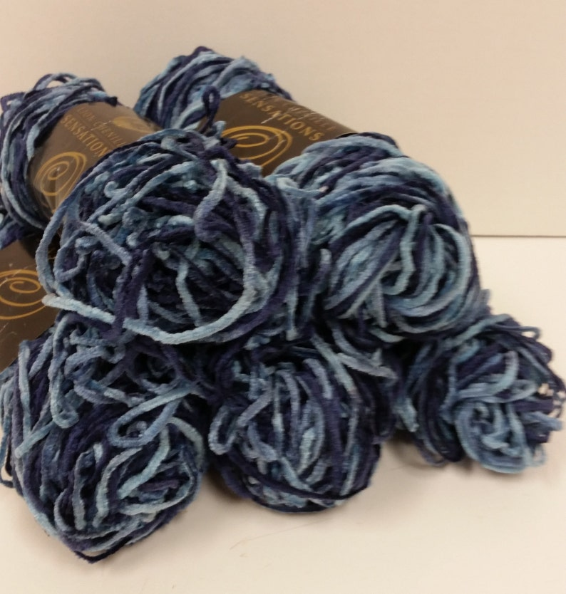 1.4 oz40 g Lion Brand Chenille Sensations Yarn 87 yards in Color Venice Print 1 Skein 2 Skeins Available in 2 Dye Lots Blues