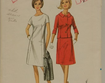 Vintage 1960's Butterick Pattern 4059 in Misses' Size 16 Bust 36 for an A-line Dress and Jacket
