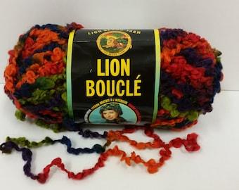 1 Skein Lion Brand Lion Boucle' Yarn, color Hard Candies, Lot 54746, 2.5oz/70g, 57yds/52m