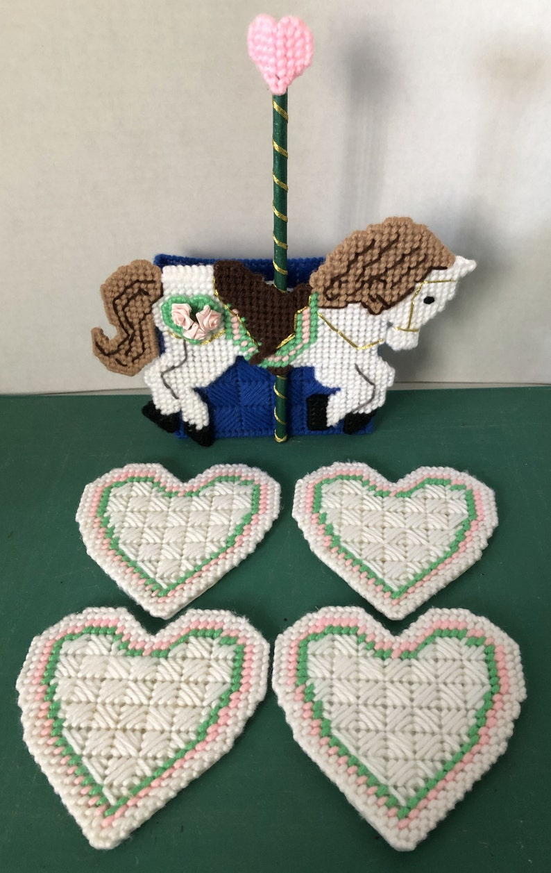 Plastic Canvas Heart Coasters with Carousal Holder