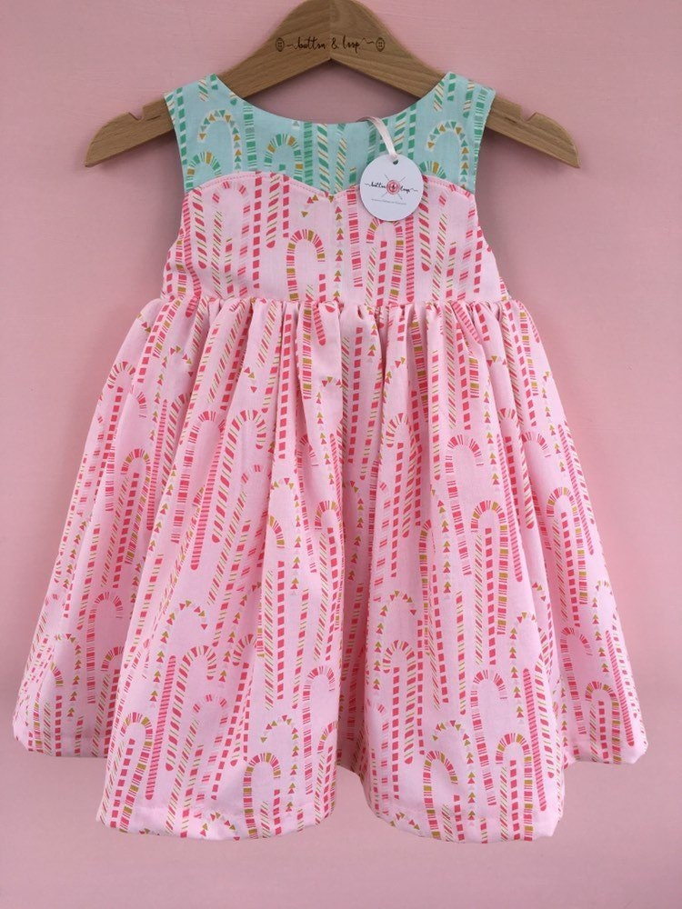 85f079dadeb5 Girls Christmas Pink Mint Candy Cane Sweetheart Dress