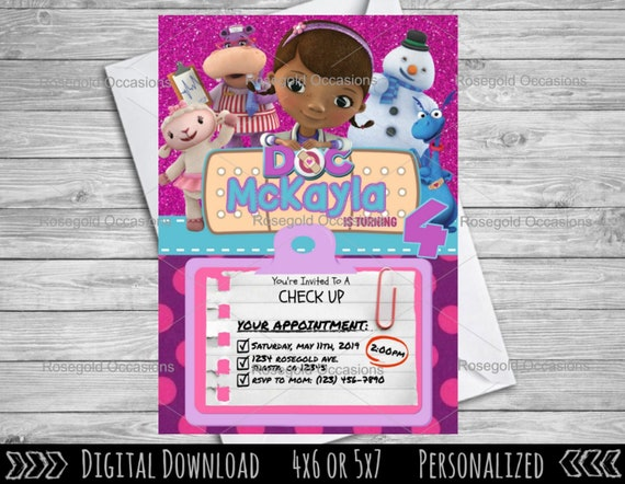 photograph relating to Doc Mcstuffins Printable Invitations titled Document McStuffins Birthday Invitation, McStuffins Invite, Document McStuffins Bash, Disney Woman Invitation, Envision Invitation, Electronic, Printable