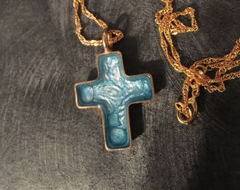 Cross Necklace / Cross Pendant / Gold Cross / Religious Necklace / Abstract Art Cross / Christian Jewelry / Cross Jewelry / Turquoise Cross