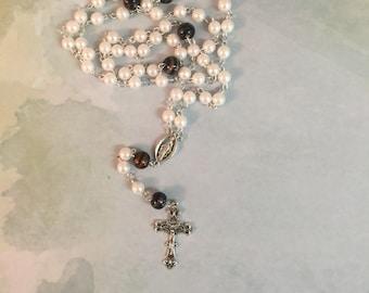 Pearl Bead Rosary | Catholic Rosary | Rosary Beads | Catholic Prayer Beads | Traditional Rosary | Five Decade Rosary | Religious Gift