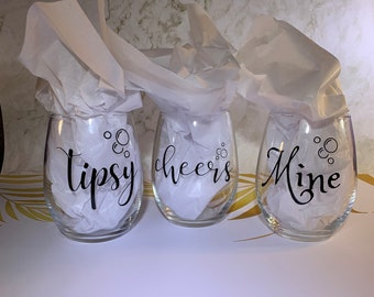 Stemless Wine Glasses with Cute Sayings | Drinking Glasses | Tipsy Cheers Mine Glasses