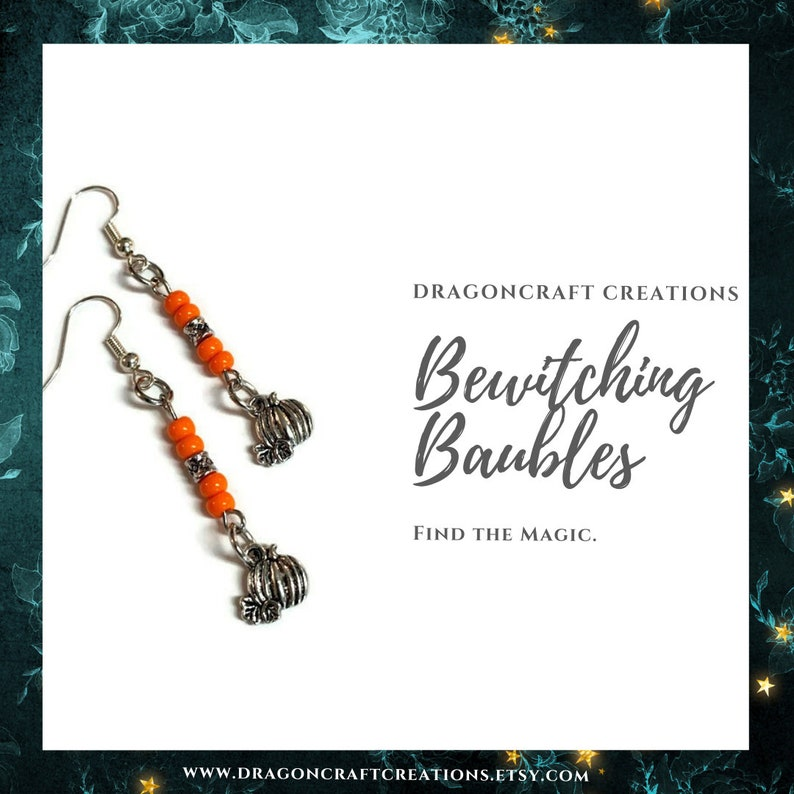 Pagan Jewelry Witchy Fashion Mini Pumpkin Earrings Halloween Fashion for Witches Bewitching Baubles Pumpkin Jewelry Goth Jewelry