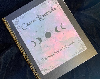 Coven Record Notebook | Coven Journal | Coven Witch Book | Coven Meeting Notes | Coven Log | Merry Meet Notes | Witch Meeting Notes