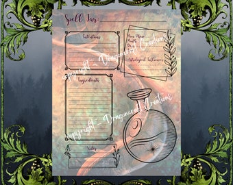 Witchy Dragon Spell Jar Pages for INSTANT DOWNLOAD | Digital Spell Jar Pages | Spell Pages for Your Grimoire!! Several Styles to Choose From