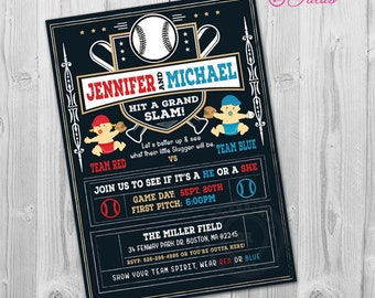baseball gender reveal invitation sports batter up gender etsy