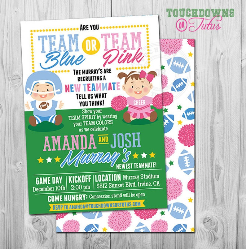 Football Gender Reveal Party Invitation Printable Team Blue Or Pink Idea Sports