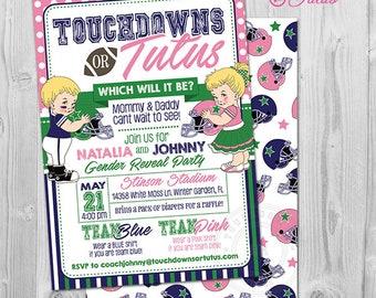 Football Gender Reveal Invitation, Touchdowns or Tutus Invitation, Touchdowns or Tutus Gender Reveal Invitations. Tutus or Touchdowns