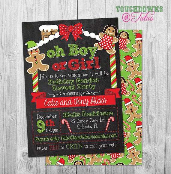 Christmas Gender Reveal Theme.Items Similar To Gingerbread Gender Reveal Invitation