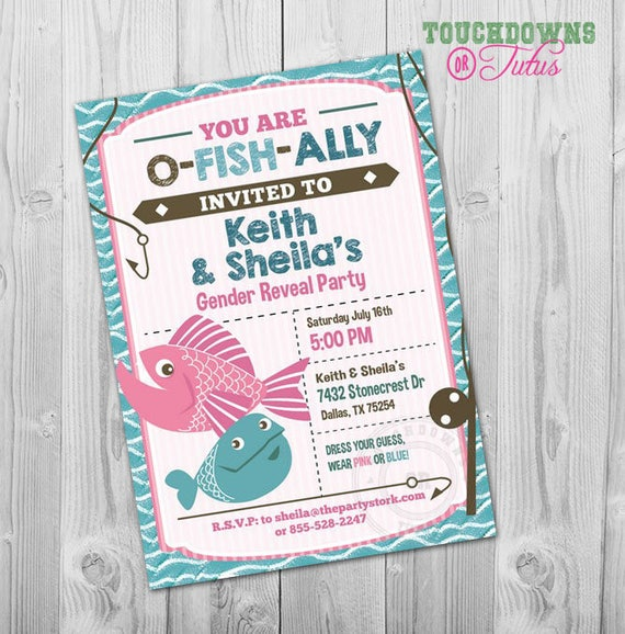 fishing gender reveal invitation fishing gender reveal party etsy