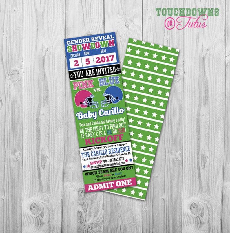 Football Gender Reveal Invitation Ticket Party Invite Baby