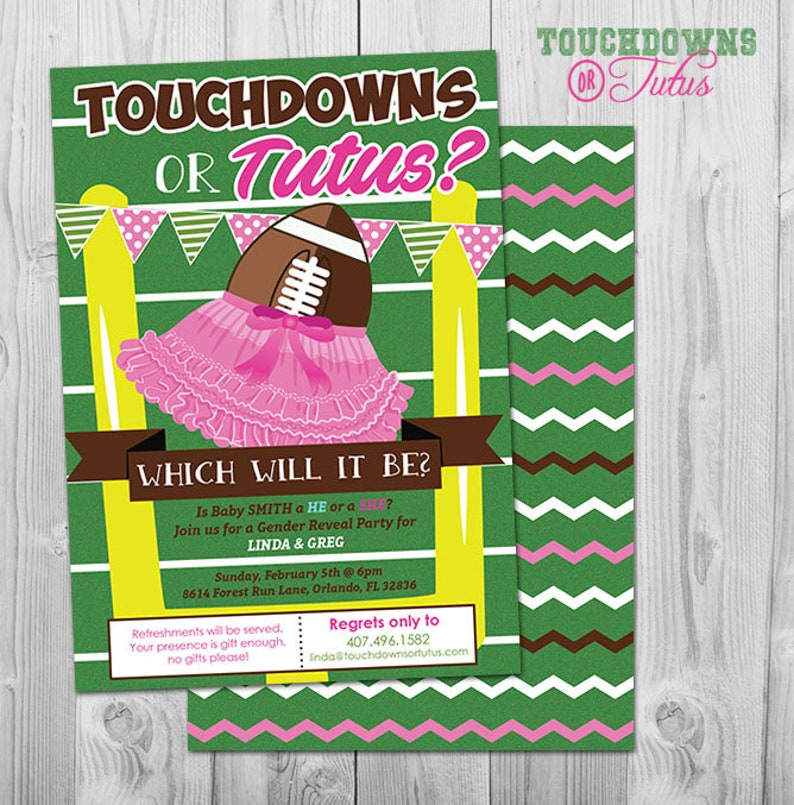 Football Gender Reveal Tutus Or Touchdowns Invitation Touchdowns Or Tutus Gender Reveal Party Invitation Football Gender Reveal Invites
