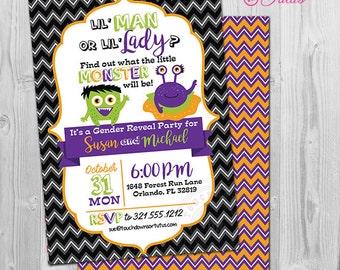 Monster Gender Reveal Invitation, Halloween Gender Reveal Invitations, Little Man or Little Lady Gender Reveal Invitations Printable