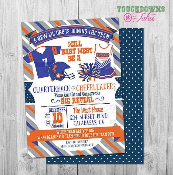 Football Gender Reveal Invitation Party Printable Quarterback Or Cheerleader Invite