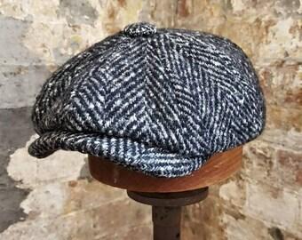 38cea0122d729 Tweels Country Collection   BROOKLYN   Chunky Herringbone   Black  White   Newsboy  Bakerboy Peaky Blinders Flat Cap Hat   100% Wool   Olney