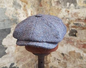 8d6649f33bca7 Tweels Country Collection   BOSTON   Harris Tweed   Newsboy Bakerboy Peaky  Blinders Flat Cap Hat   100% British Wool   Indigo Blue   Olney