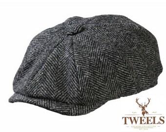 dd7818236092a Tweels Country Collection   BROOKLYN   Harris Tweed   Newsboy Bakerboy Cap  Hat   100% British Wool   Grey Black Herringbone   Gift   Olney