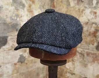 df5d8edb07043 Tweels Country Collection   BROOKLYN   Harris Tweed   Newsboy Bakerboy Cap  Hat   100% British Wool   Black Grey Charcoal Herringbone   Olney