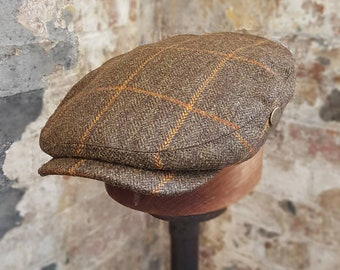 702c1b53920fc Tweels Country Collection   BOND   Vintage Style Flap Cap Hat   100% Tweed  Wool   Brown Window Pane Check   All Sizes   Olneys