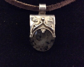 Artisan Made Pendant of Montana Moss Agate and Sterling Silver