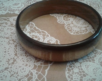 Topaz Colored Nylon Moonglow Bangle, Unsigned