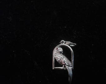 Sterling Silver Three Dimensional Parrot Charm