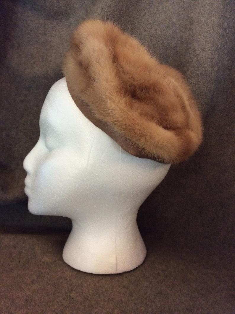 Huntington Small Blonde Mink Pillbox Labeled Jaskow Furs West Virginia