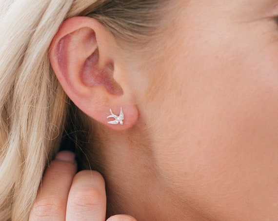 Swallow Earrings, Sterling Silver - Nature Collection
