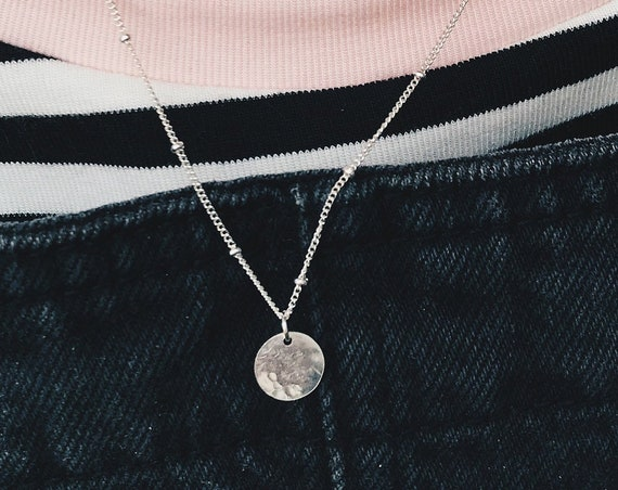 Hammered Mini Disc Necklace, Sterling Silver - Halo Collection