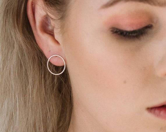 Large Circle Hoop Earrings, Sterling Silver - Halo Collection