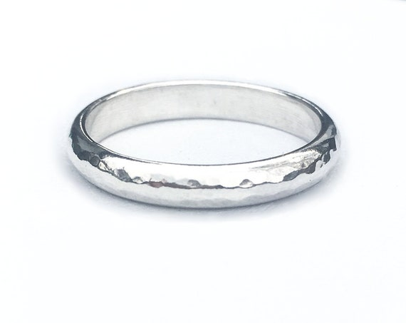 Hammered D-Shape Ring, Sterling Silver