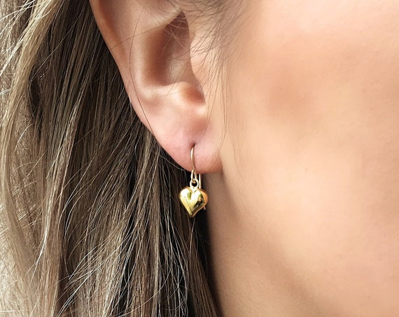 Heart Drop Earrings, Gold - Karma Collection