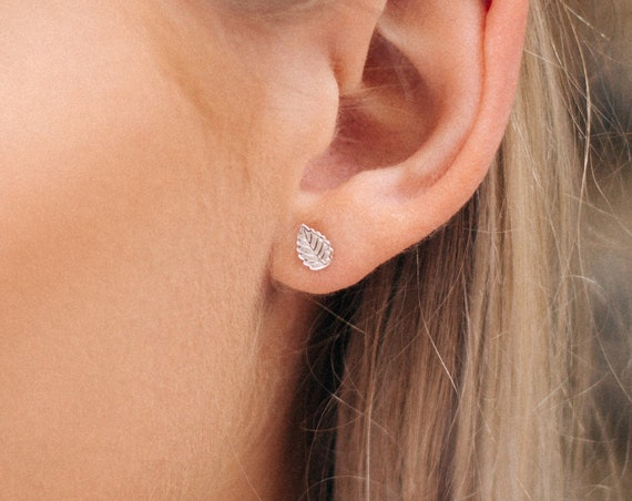 Leaf Earrings, Sterling Silver - Nature Collection
